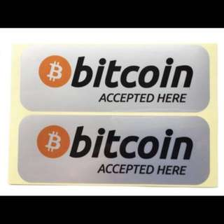 Bitcoin Accepted payment method sticker