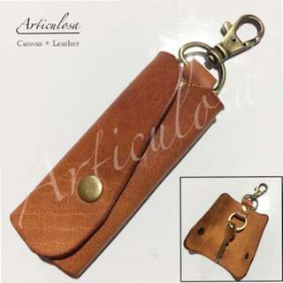 Leather keyholder with brass accessories and free name stamping maximum of 5letters