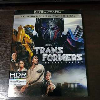 Transformers The Last Knight 4k Ultra HD + Bluray 3 disc combo with slipcase