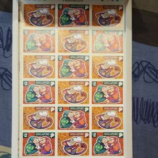 Singapore stamps year of monkey.
