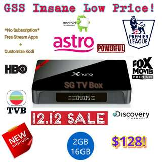 Latest and Cheapest 2GB RAM 16GB ROM marshmallow Xnano Android Box.( IPTV / ASTRO / Malaysia Channels / TV3 / ASTRO RIA / Malay / TVB / MYIPTV / MoonTV / worldwide channels / TV box) #1212YES