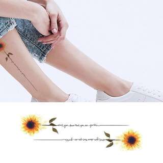 BN Instock Temporary Tattoo Temp Tattoos Sunflower With Stem Joy Spiritual Faith Yellow Happiness