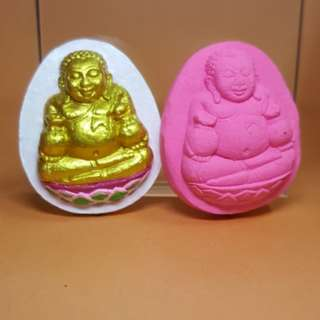 2 Wealth Buddha by Kruba Chaiya ( Two Piece )