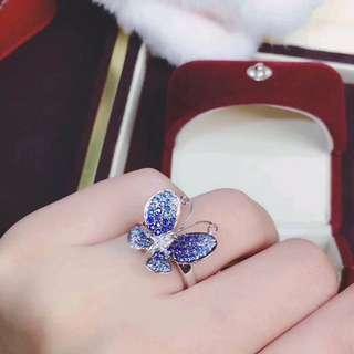 18k金藍寶石鑽石蝴蝶設計戒指🎁全新聖誕禮物生日紀念日