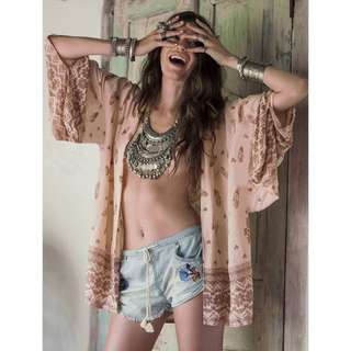 Women boho kimono cardigan chiffon tassel beach hot cover up tops shirt