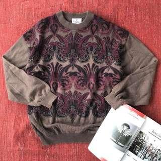 🌴70s藕色復古印花圖騰寬鬆羊毛衣 針織衫 男女皆可Vintage 日本帶回古著