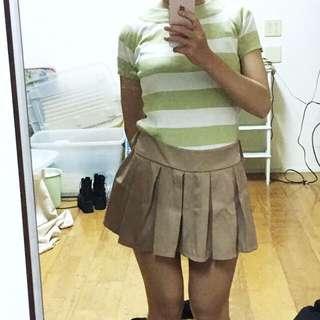 白綠條紋 緊身 彈性短袖上衣
