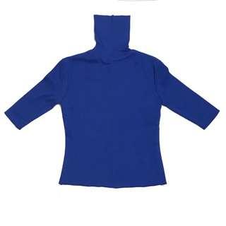 古著 藍色 針織 高領五分袖上衣