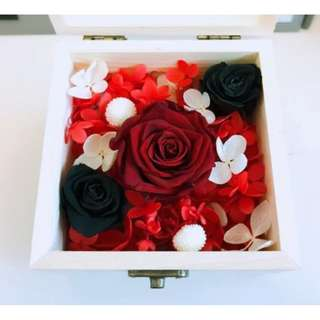 Preserved Flowers Red & Black Roses in Glass Wooden Box