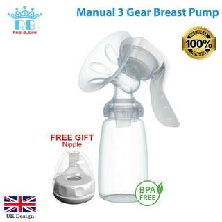 Real Bubee BPA Free Manual Pump 3 Level Breast Milk Pacifier * Free Pos *