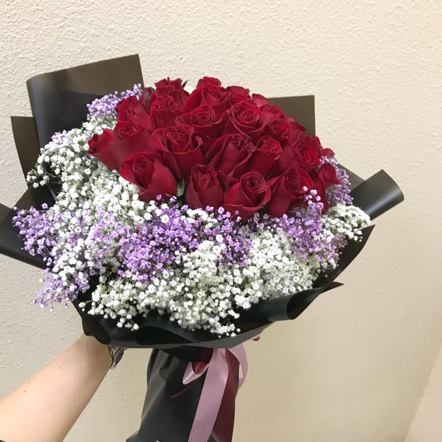 36 red roses with purple and white Baby Breath Hand Bouquet
