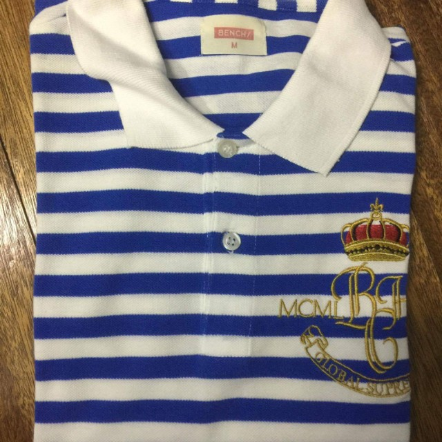 [3 for P1000] BENCH striped polo shirt