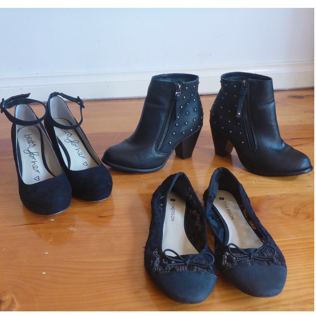 $40 for all 3!! Gorgeous black 'Emerson' boots, black lace 'Emerson' flats, and black 'Betts for her' wedges (women's shoes) (women's heels)