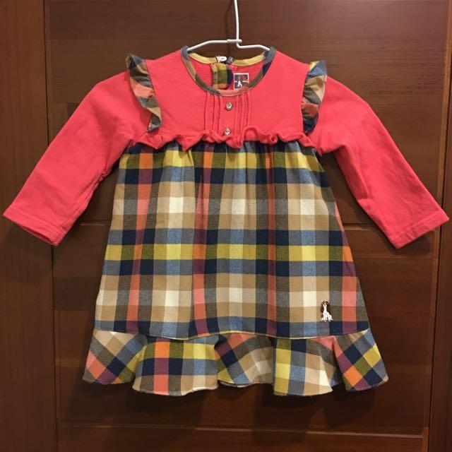 橘紅色格紋女童洋裝90公分