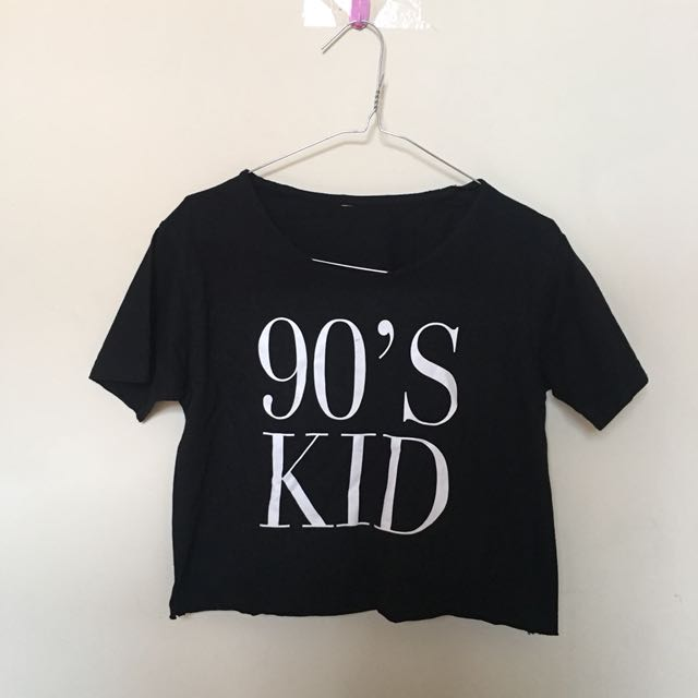 90's Kid Black Crop T-Shirt