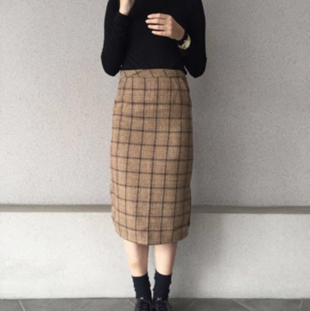 9.99成新 僅試穿復古氣質款格紋包裙(M)