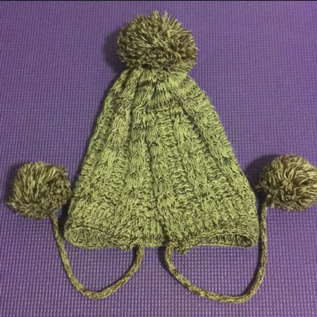 咖啡色針織連球毛帽