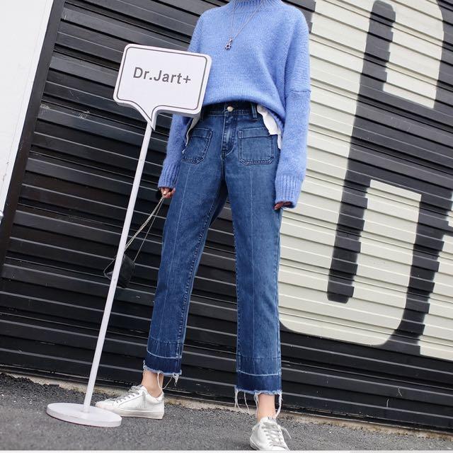韓版中直筒超顯瘦牛仔褲