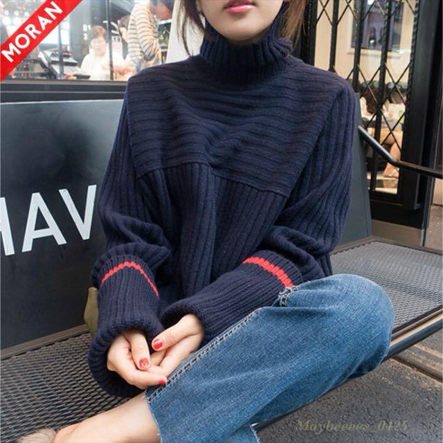 韓系高領毛衣套頭針織衫(大尺碼)✅