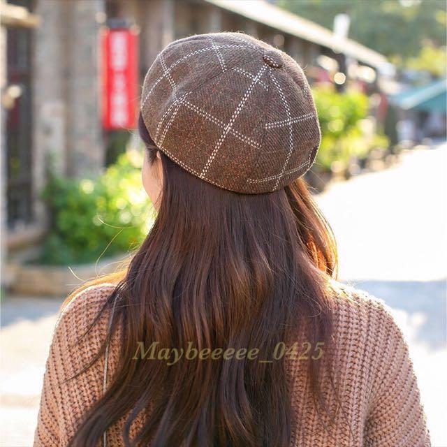 復古咖啡色格子貝雷帽✅
