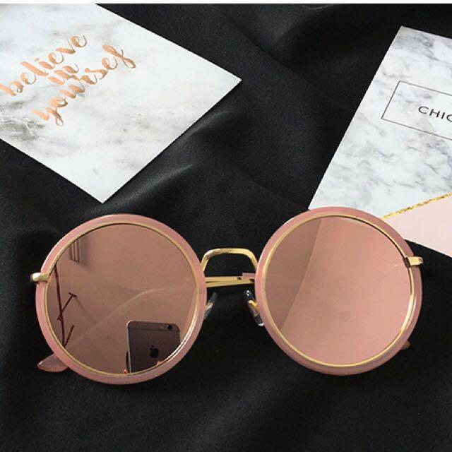 粉紅色圓鏡片墨鏡✅