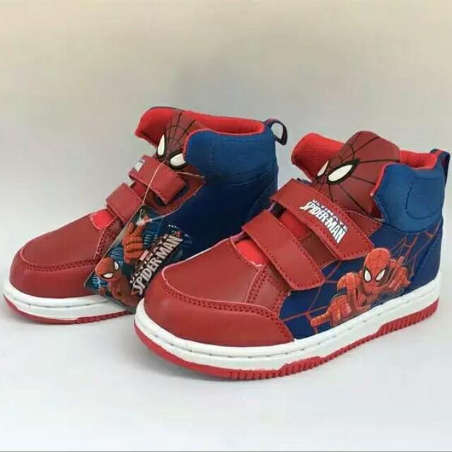 男童蜘蛛人運動鞋英雄聯盟休閒鞋復仇者聯盟蝙蝠俠球鞋防滑耐磨透氣蜘蛛人卡通布鞋休閒漫威板鞋