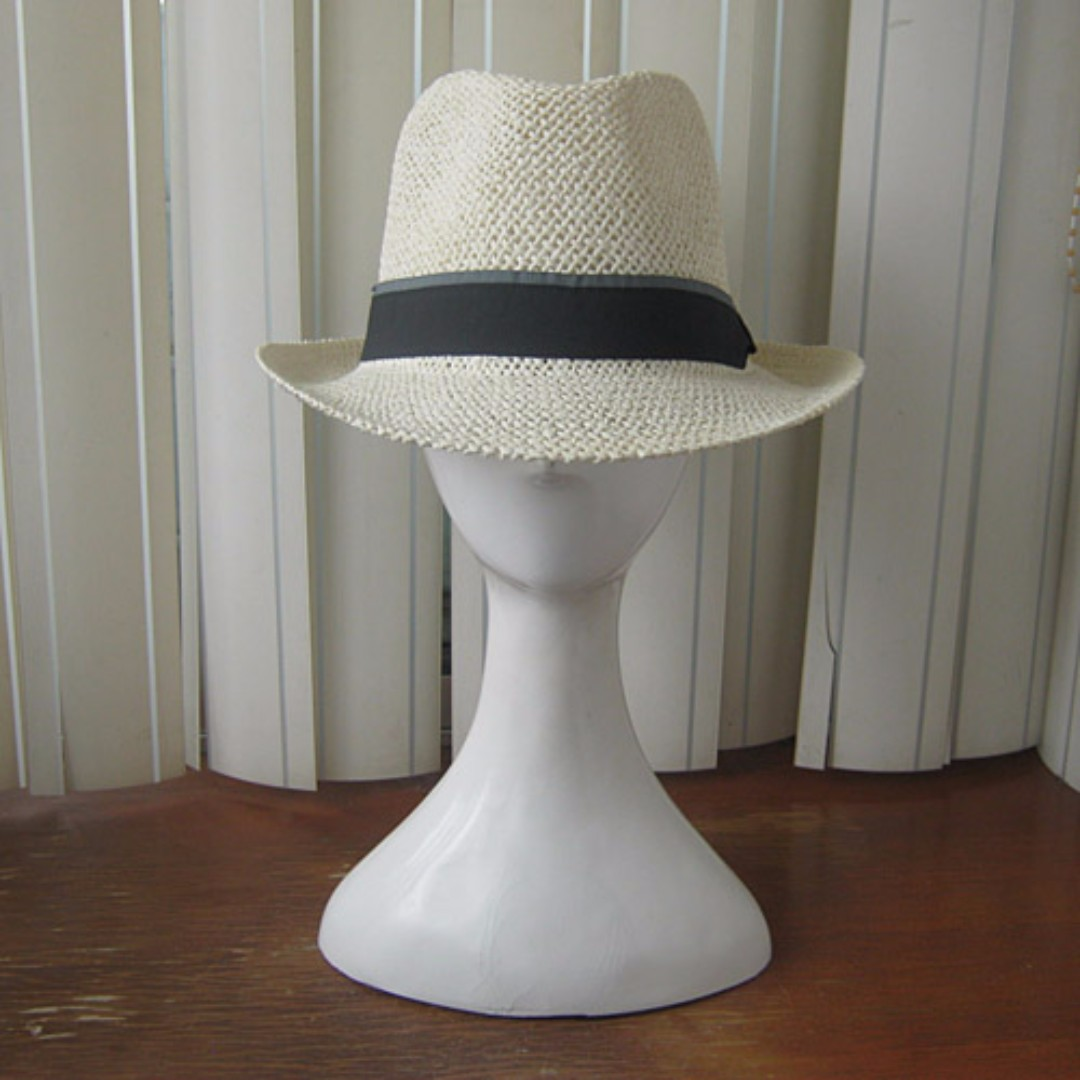 銷售日本通路男女通用精緻有型绅士帽草帽淺米黃/白