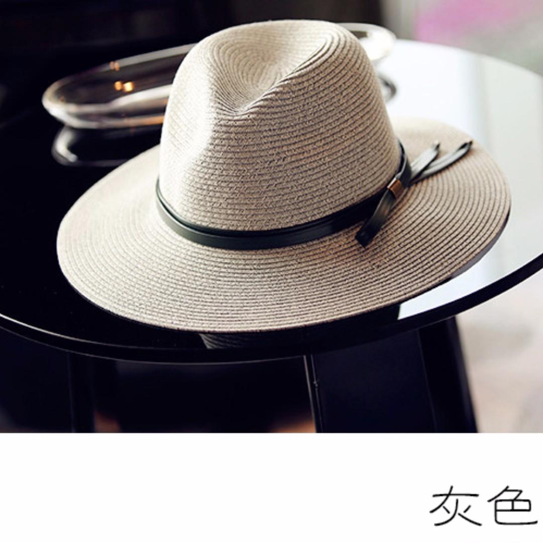 韓版編織度假草帽女夏天折疊遮陽帽海邊軍綠色皮革