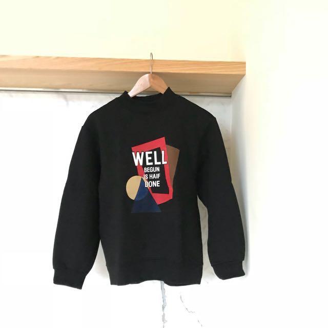 二手💛正韓 黑色微高領字母刷毛上衣