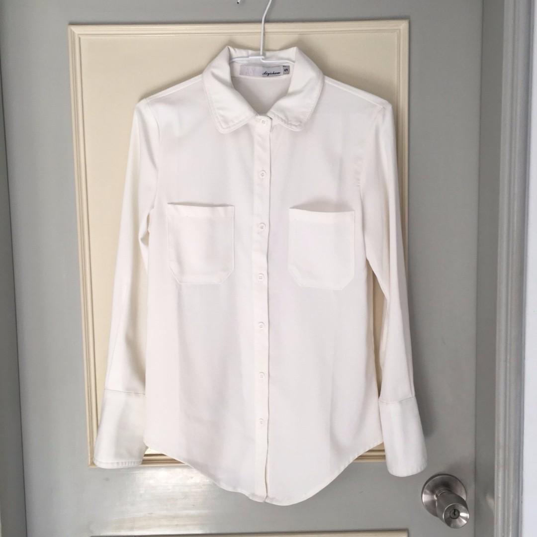 二手 白色長袖襯衫
