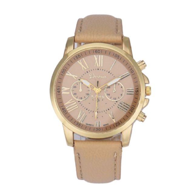 全新 玫瑰金皮面手錶