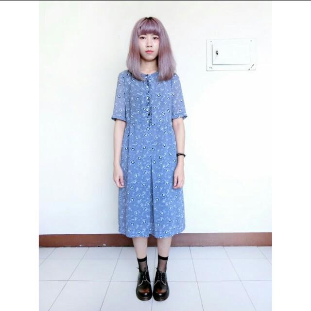 Pc免運>轉賣)日本古著 超美深藍洋裝