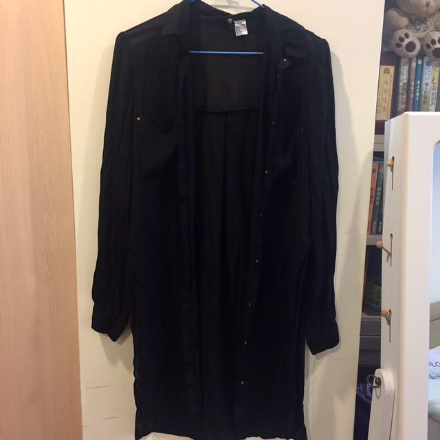 黑襯衫薄外套 罩衫
