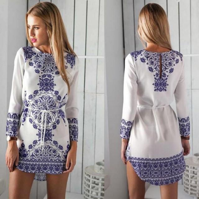 白藍色一件式洋裝 長上衣