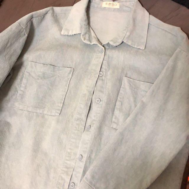全新 燈芯絨天藍色襯衫 實品很美
