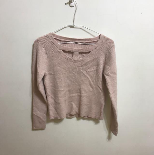超舒服粉膚色 貼身 顯身材針織毛衣