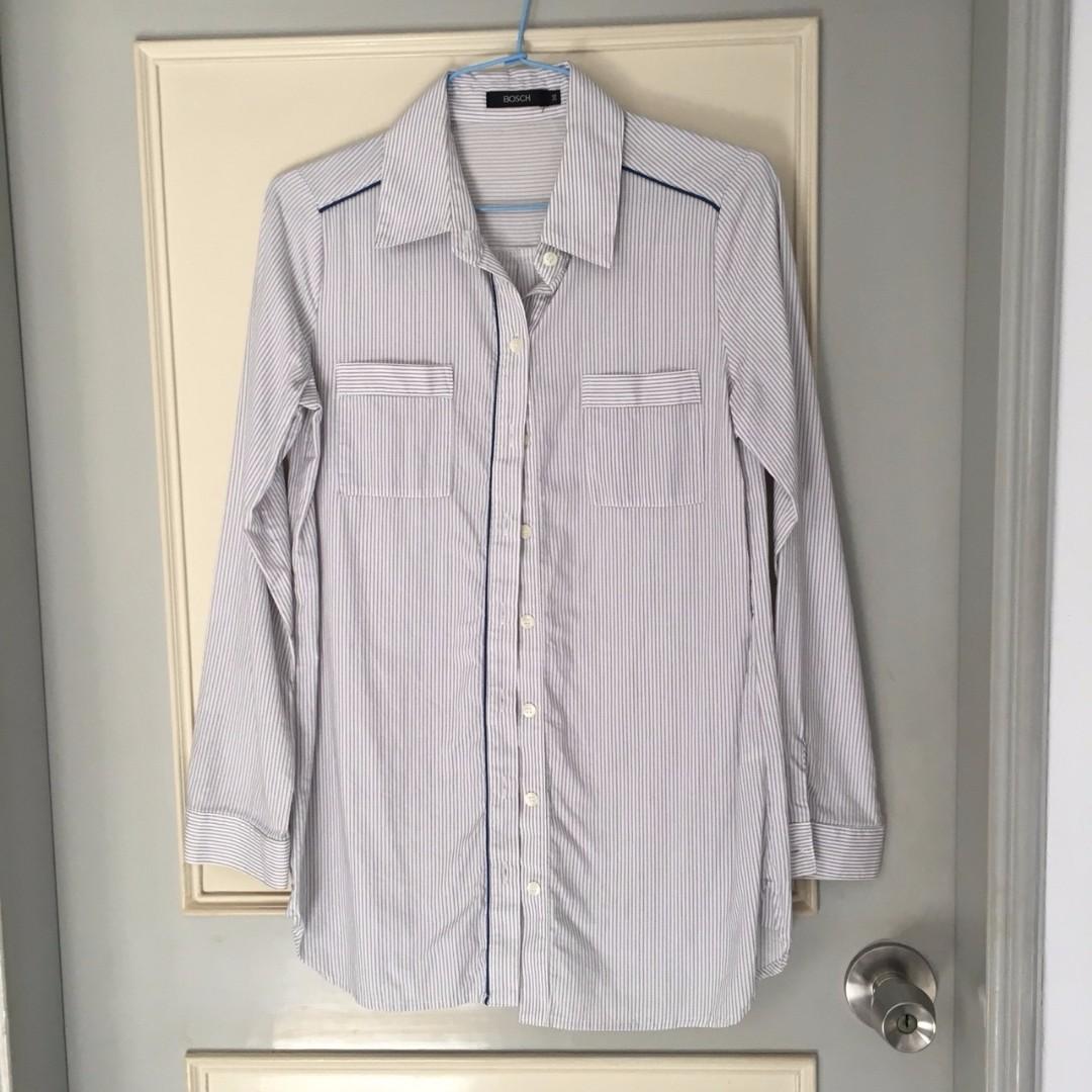 二手 直條紋 藍色長袖襯衫