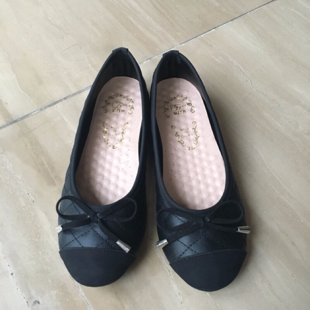 二手 蝴蝶結 黑色娃娃鞋