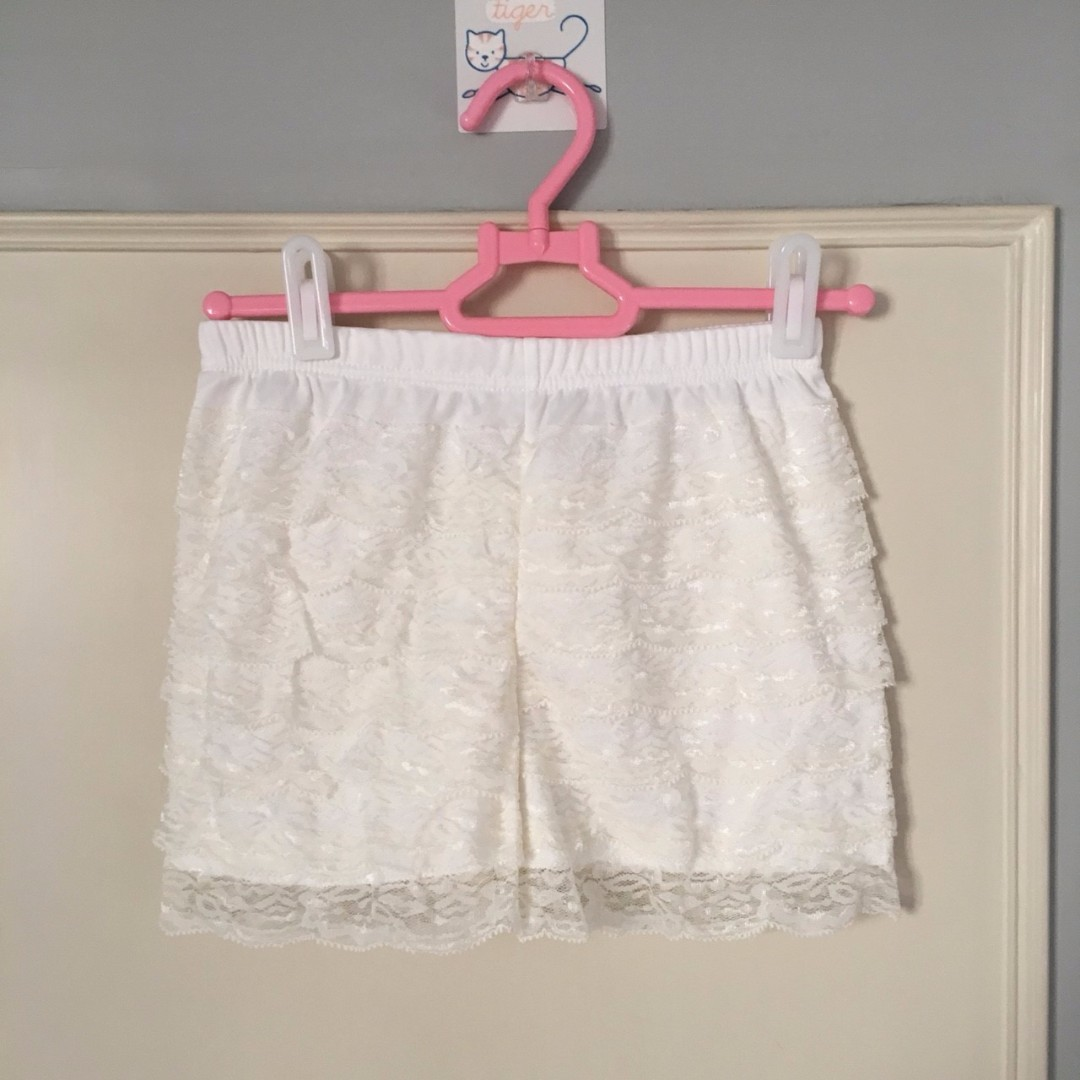 二手 白色 蕾絲安全褲