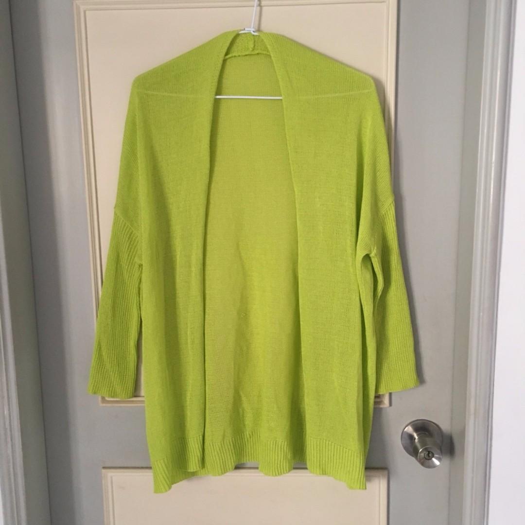二手 螢光綠色 針織外套