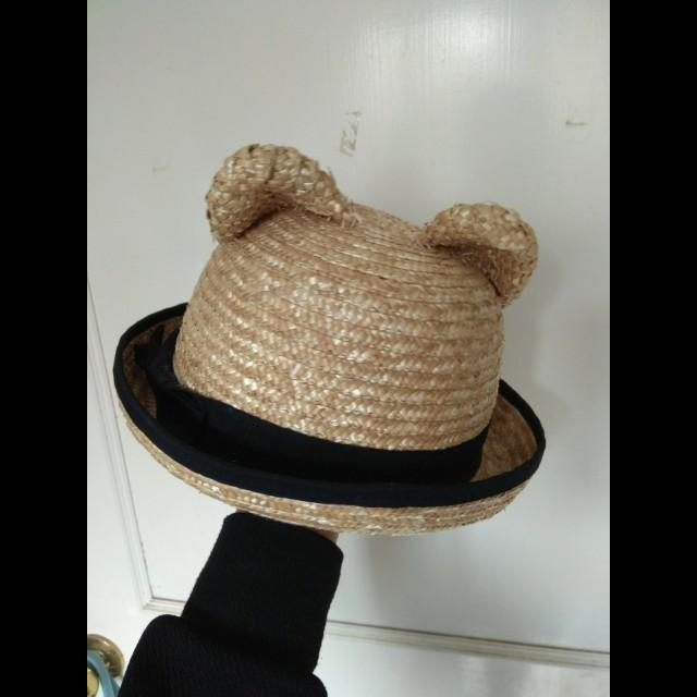 含運 貓耳蝴蝶結草編紳士帽 小圓帽