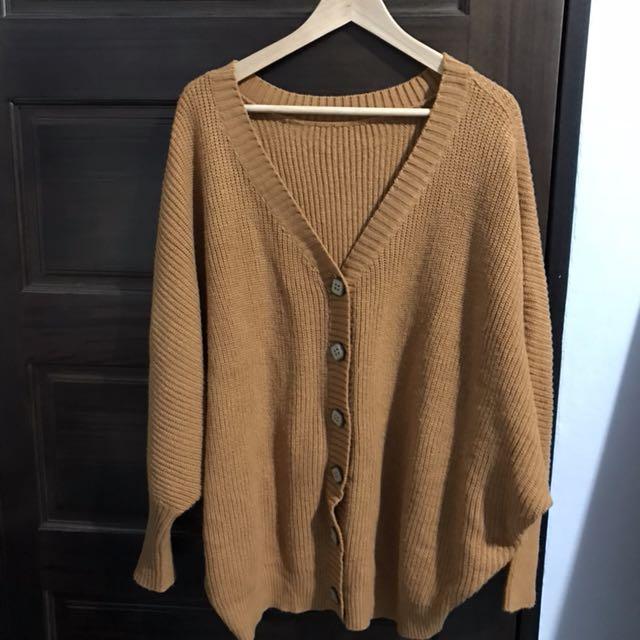 褐色 飛鼠袖 針織外套