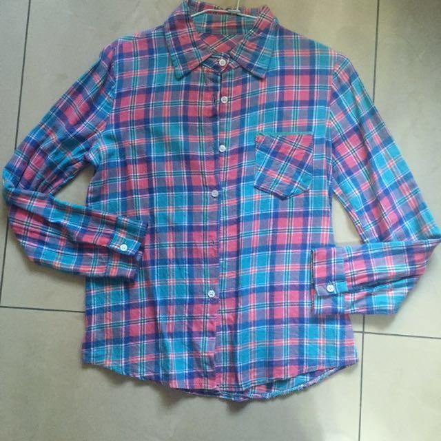 格紋襯衫 長袖襯衫 粉色 藍色