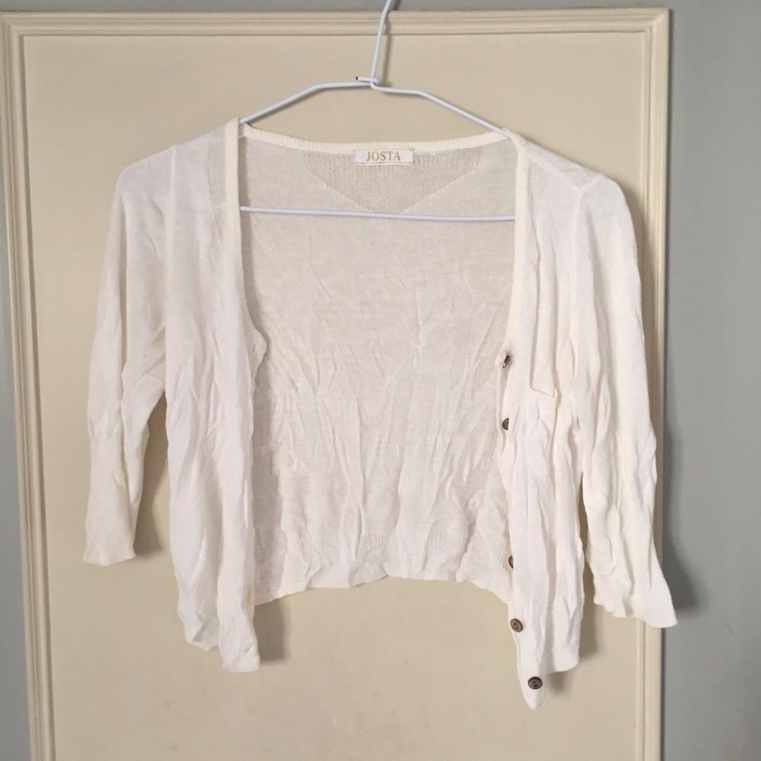 二手 白色 針織 五分袖外套 辦公室必備 禮服穿搭