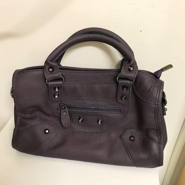 全新 | Cleo & CO 時尚都會牛皮包 紫色 可提 可背