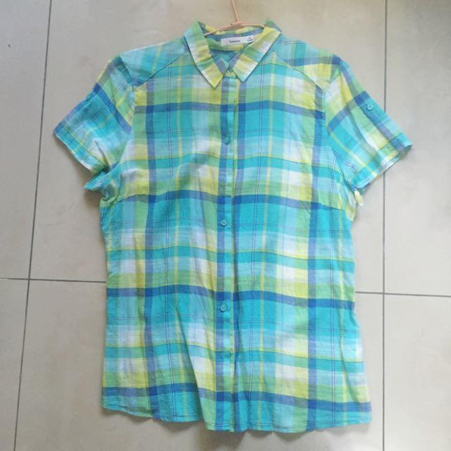 正品 bossini 短袖襯衫 格紋襯衫 M號