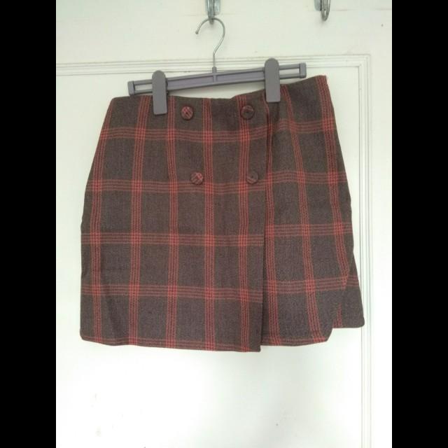 全新 含運Cece. t 格紋排釦毛呢窄裙 短裙