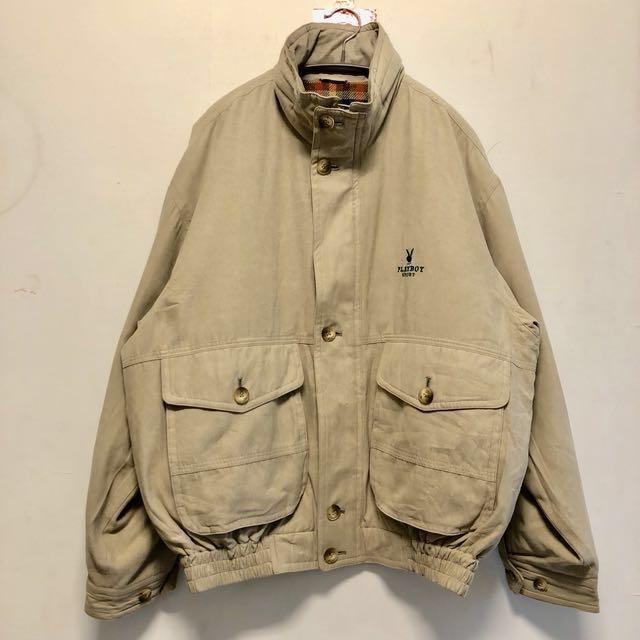 稀有! Playboy sport 古着長袖短版外套 防風夾克 含帽子 80s-90s vintage jacket 11月