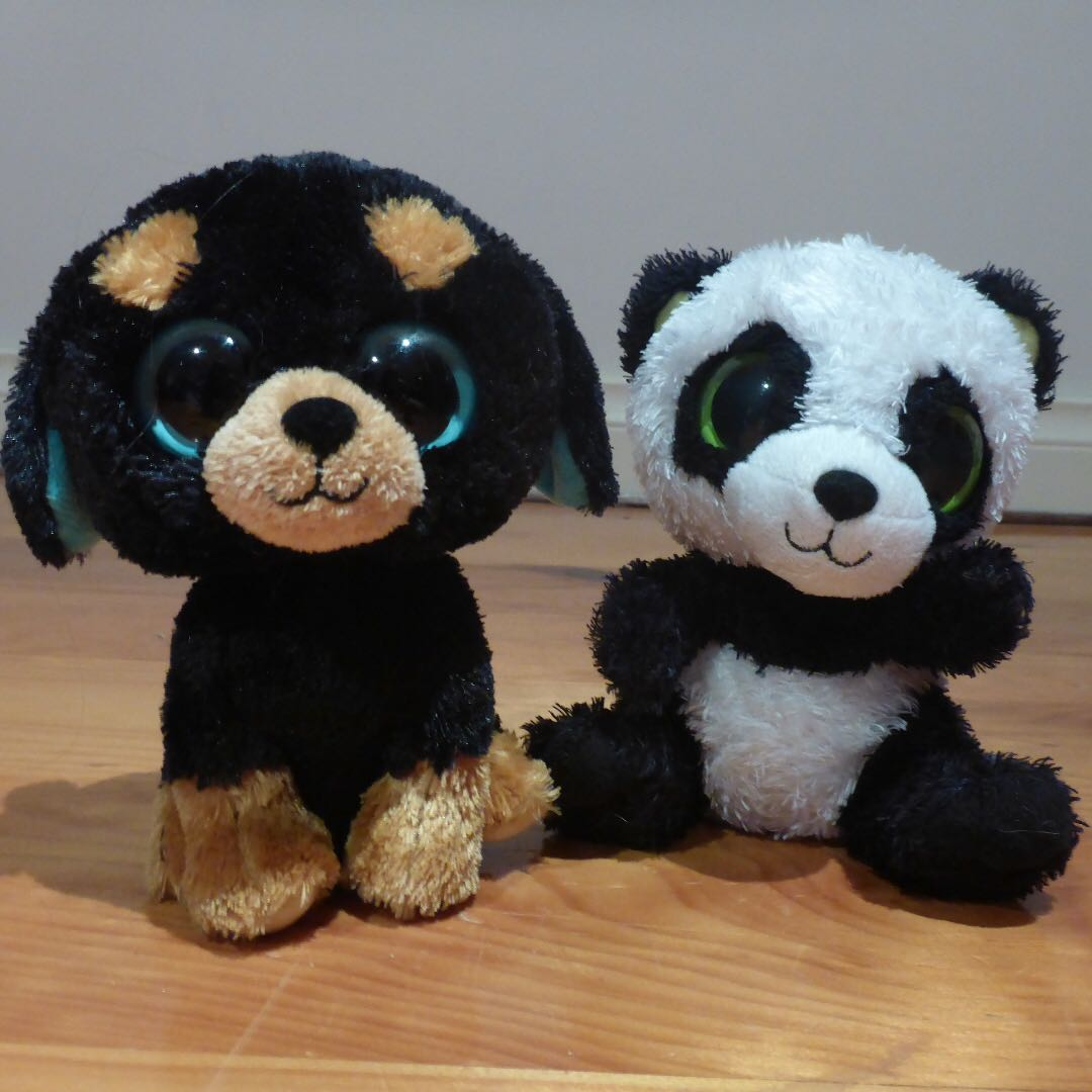 "Adorable TY Collectibles Beanie Boo ""Bamboo"" the panda and ""Tuffy"" the dog,  retired and rare"