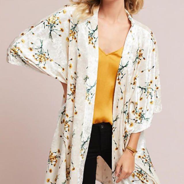 Anthropologie Velvet Kimono